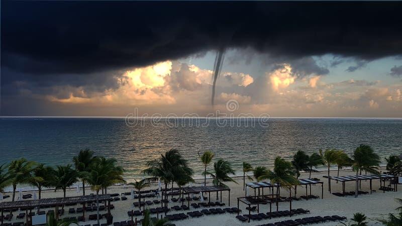 Tornado Approaching Coastline stock photos