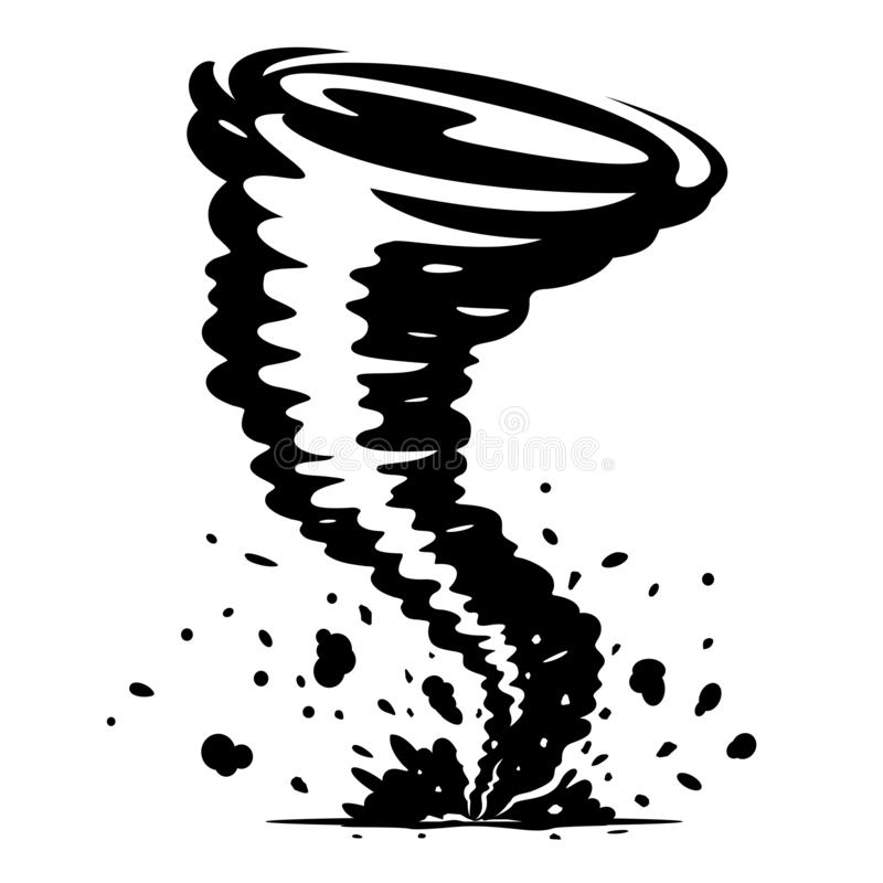 Tornado black and white isolated illustration. One big cartoon tornado with spiral twists, dust and stones, illustration of dangerous natural phenomenon royalty free illustration
