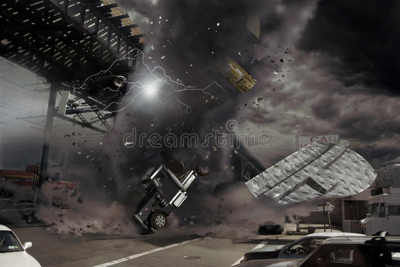 Tornado in the city stock illustration
