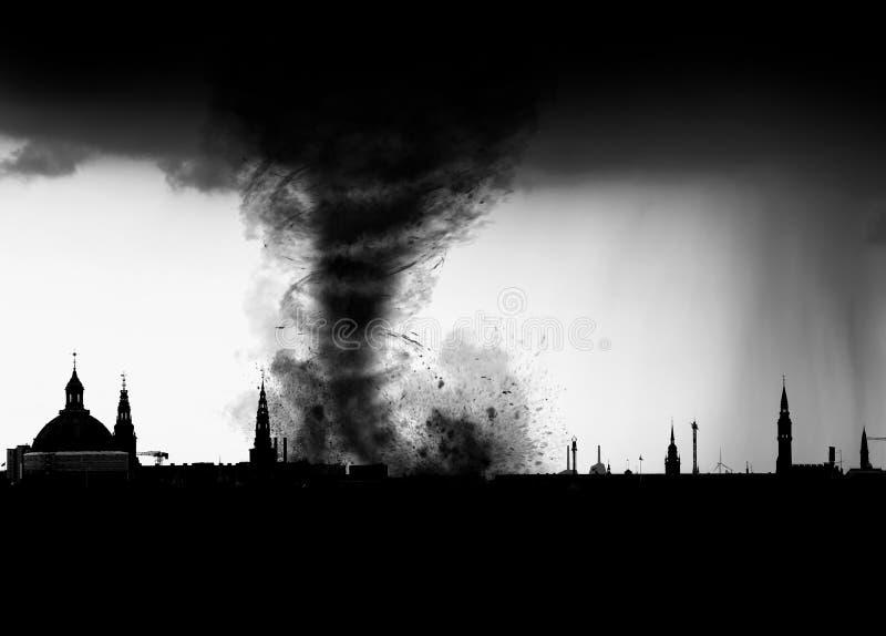 Tornado city skyline. Destructive tornado storm cloud ripping up city skyline stock image