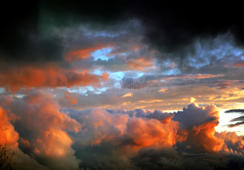 After tornado clouds. At sunset stock photos
