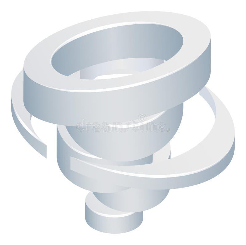 Tornado Cyclone Hurricane Twister 3d Icon vector illustration