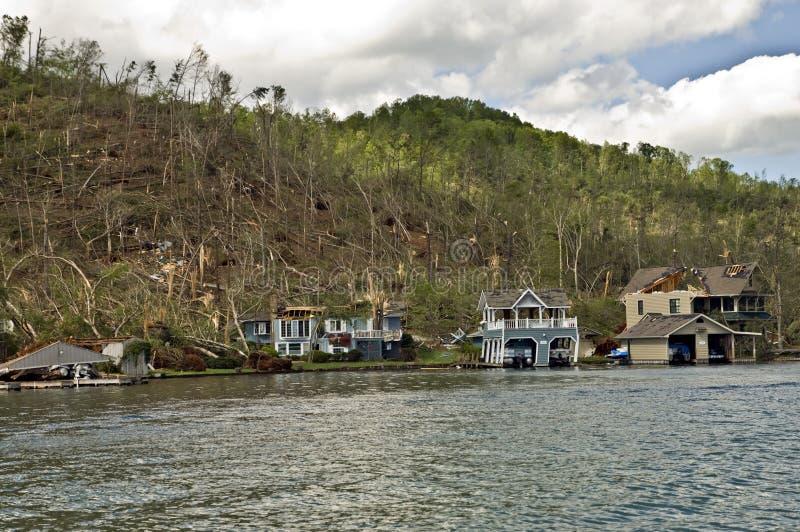 Tornado Damage. CLAYTON, GA, USA, APRIL 28 : Tornado damage on Lake Burton on April 28, 2011, in Rabun County, Clayton, GA. Extensive damage to many large homes royalty free stock image
