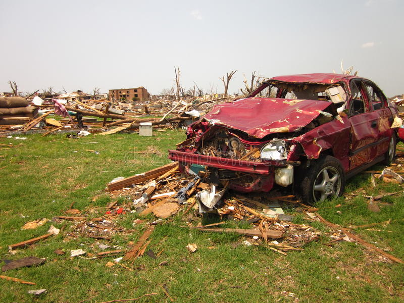 Tornado damage wrecked car stock photography
