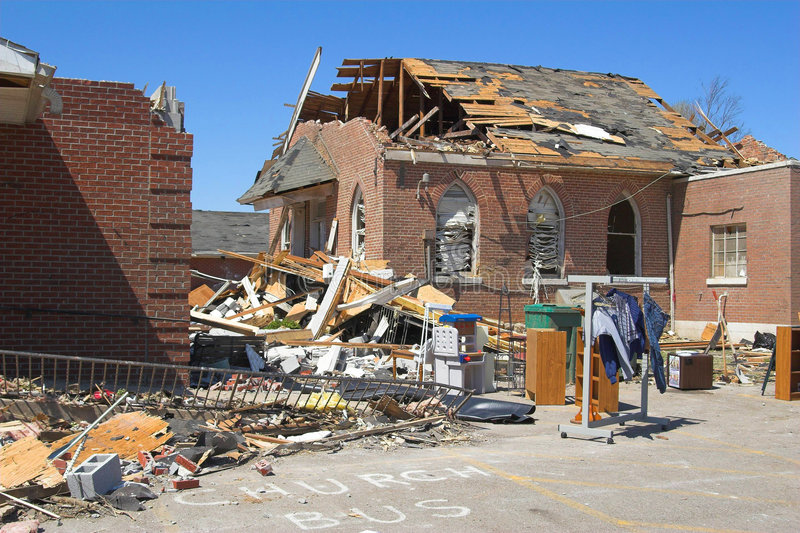 Tornado damage ky 1d. Church destroyed by tornado, Cold front bringing tornadoes & straight line winds area, declared State of Emergency, a powerful F3 tornado stock photo