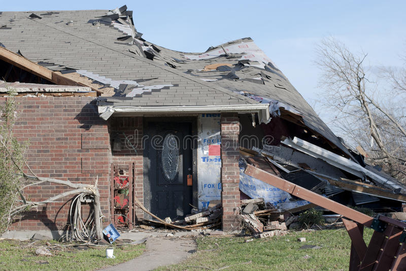 Tornado Damage to Brick Home royalty free stock images