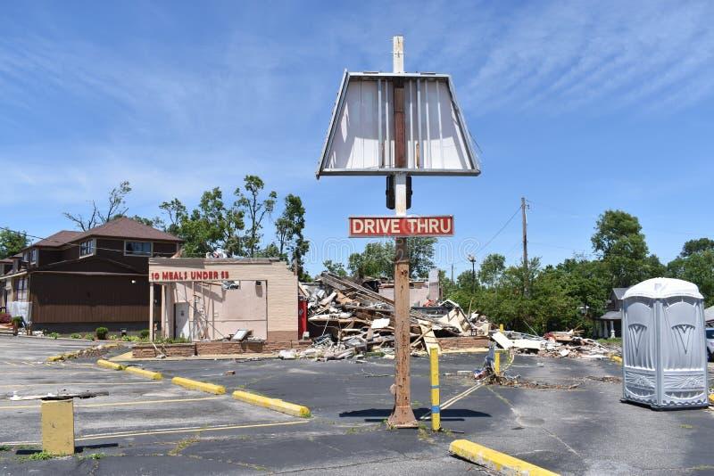 Tornado de nabijheid in van Dayton, Ohio stock foto's