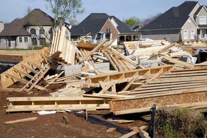 Tornado destroys new home. Tornado leaves trail of death, destruction ,fast moving storms hit almost without warning royalty free stock images