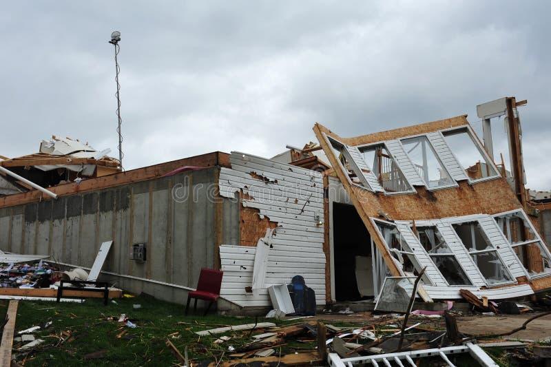 Tornado destruction. ST. LOUIS - APRIL 25: Dozens of homes were destroyed by the April 22 Good Friday tornado that ran through St. Louis. Despite the devastation royalty free stock image