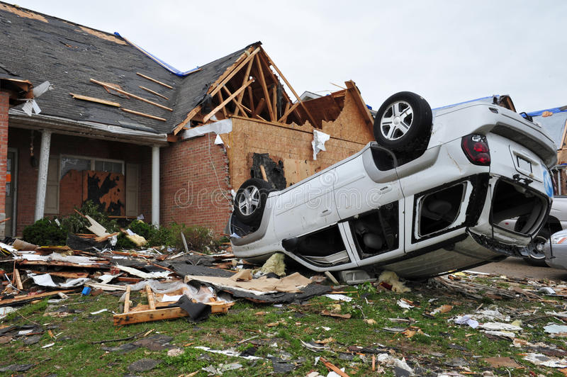 Tornado destruction. ST. LOUIS - APRIL 25: Dozens of homes and cars were destroyed by the April 22 Good Friday tornado that ran through St. Louis. Despite the royalty free stock image