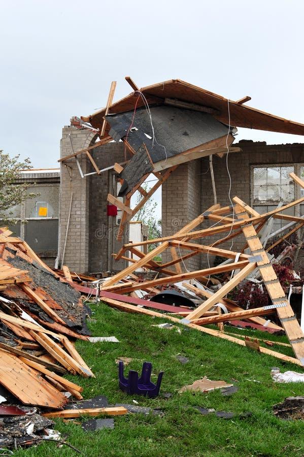 Tornado destruction. ST. LOUIS - APRIL 25, 2011: Dozens of homes were destroyed by the April 22 Good Friday tornado that ran through St. Louis. Despite the stock photo