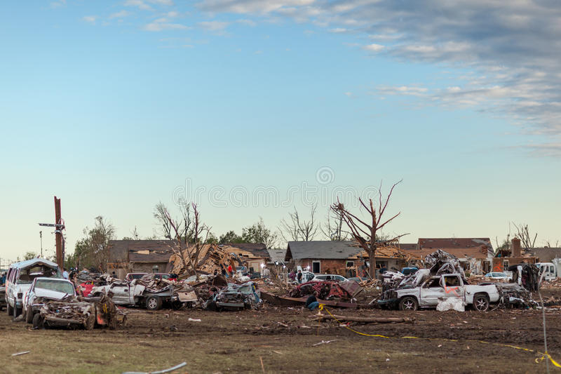 Tornado Devastated Community stock images