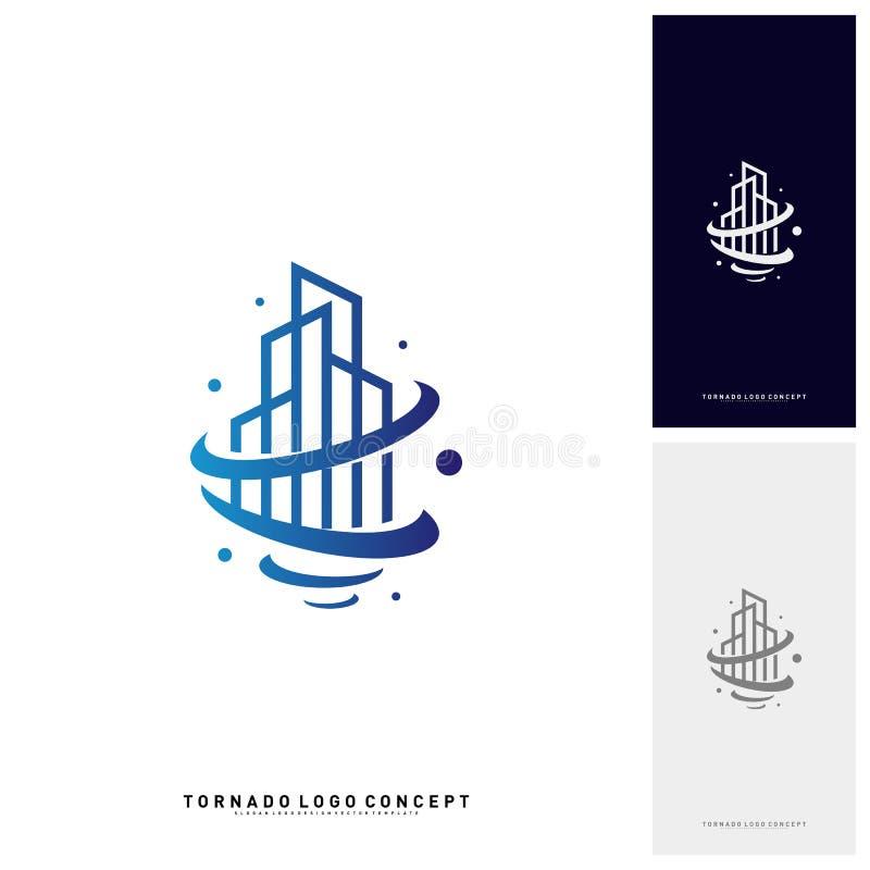 Tornado di costruzione moderno Logo Concept Company Tempesta con la costruzione del Logo Vector Template illustrazione vettoriale