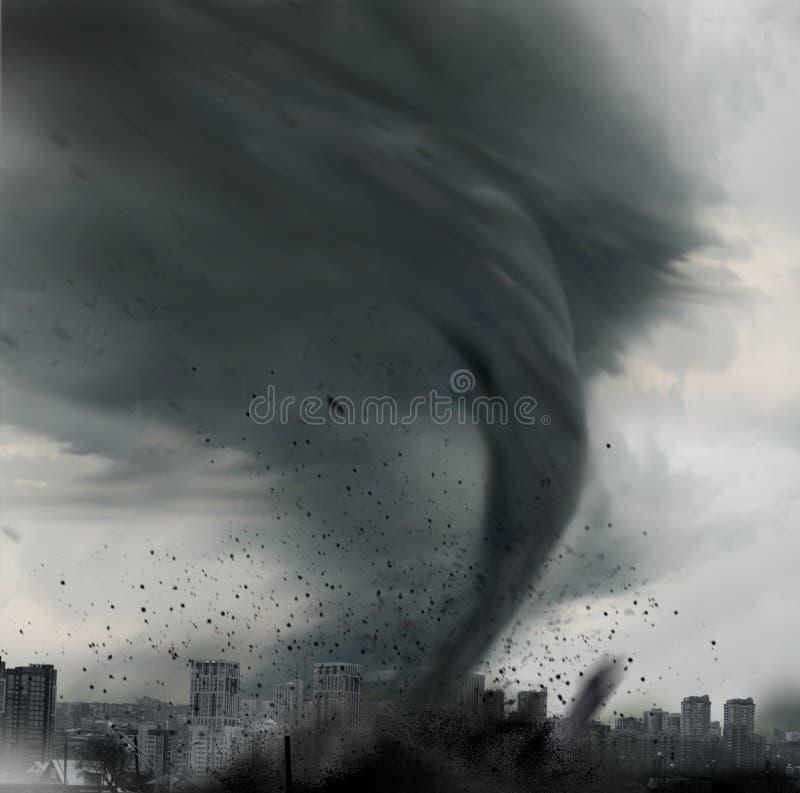 Tornado die boven stad verdraaien stock afbeeldingen
