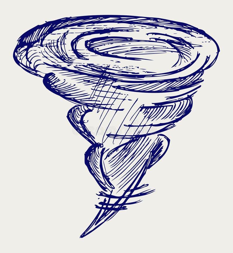 Tornado. Doodle style. Vector sketch