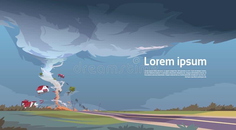 Tornado en el paisaje del huracán del campo del tornado de la tormenta en campo ilustración del vector