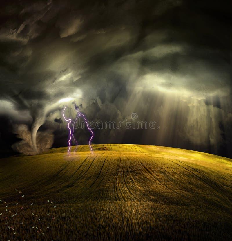 Tornado en paisaje tempestuoso stock de ilustración