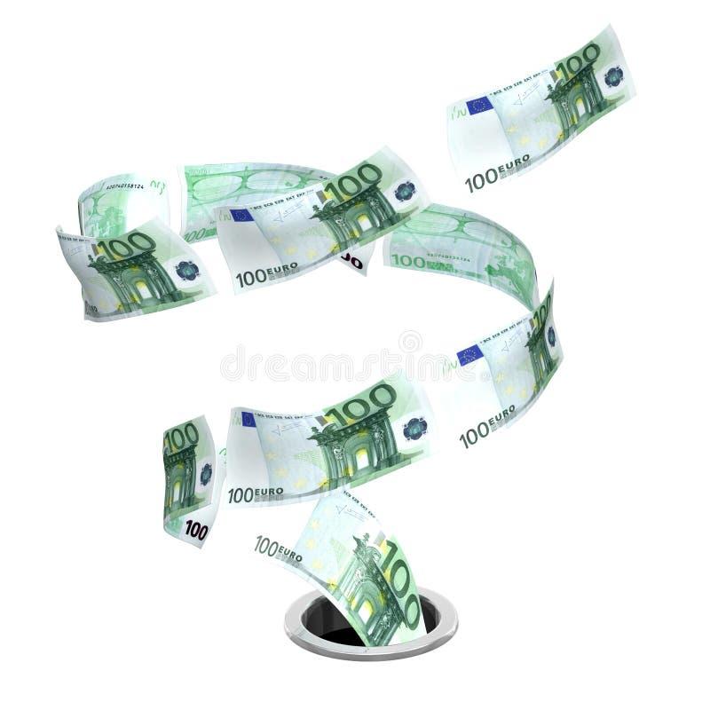 Tornado Euro To Drain Royalty Free Stock Photos