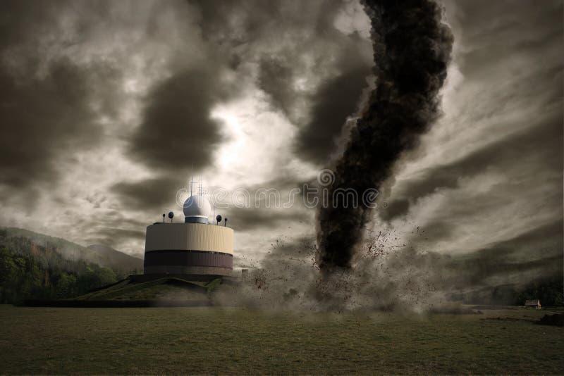 Tornado grande sobre una estación del meteo ilustración del vector