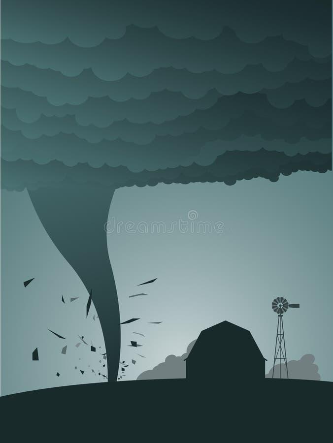 Tornado in het land vector illustratie