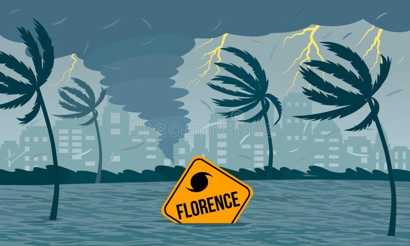Tornado huraganowy Florencja, wy?ania si? od oceanu Ekologiczna katastrofa i znak katastrofa tonęliśmy w powodzi ilustracja wektor