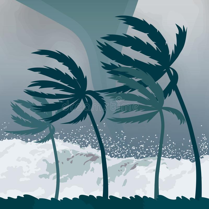 Tornado hurricane , coming from the ocean. Huge waves on houses on the coast. Tropical disaster and a sign of catastrophe and vector illustration