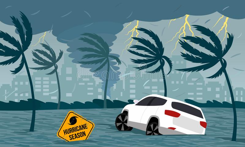 Tornado hurricane Florence, emerging from the ocean. Flooding the city and cars. Car accident. A tropical catastrophe and a sign. Of disaster. flat vector stock illustration