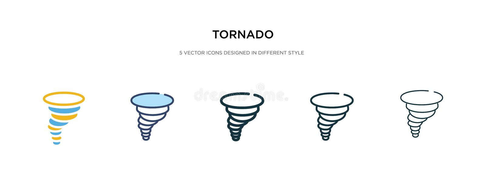 Tornado icon in different style vector illustration. two colored and black tornado vector icons designed in filled, outline, line stock illustration