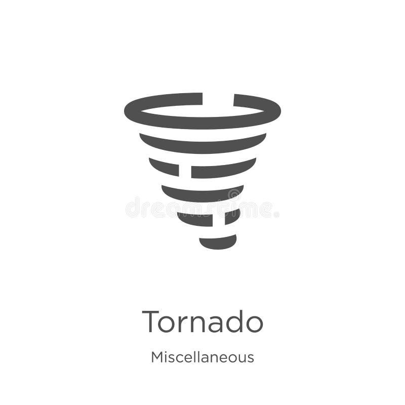 tornado ikony wektor od różnej kolekcji Cienka kreskowa tornado konturu ikony wektoru ilustracja Kontur, cienieje kreskowego torn royalty ilustracja