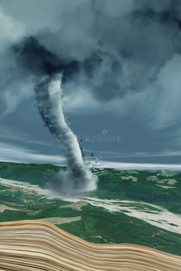Tornado jest wartko wiruje kolumną powietrze który jest w kontakcie z powierzchnią ziemia i cumulonimbus chmurą ilustracja wektor