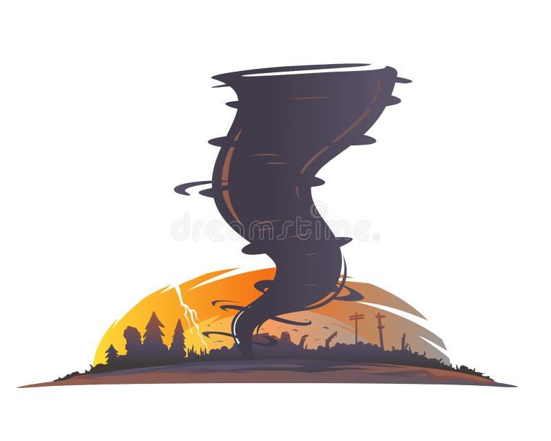 Tornado Landscape Silhouette. With spiral twists destroys all around vector illustration