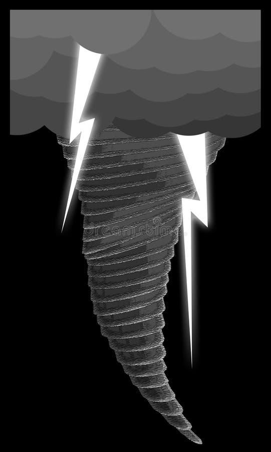 Tornado mit dem Llightning lizenzfreie stockbilder