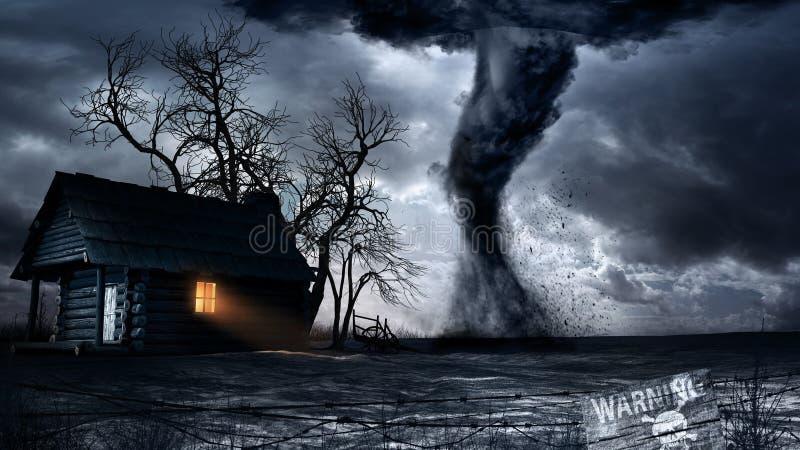 Tornado nahe dem einsamen Haus stock abbildung