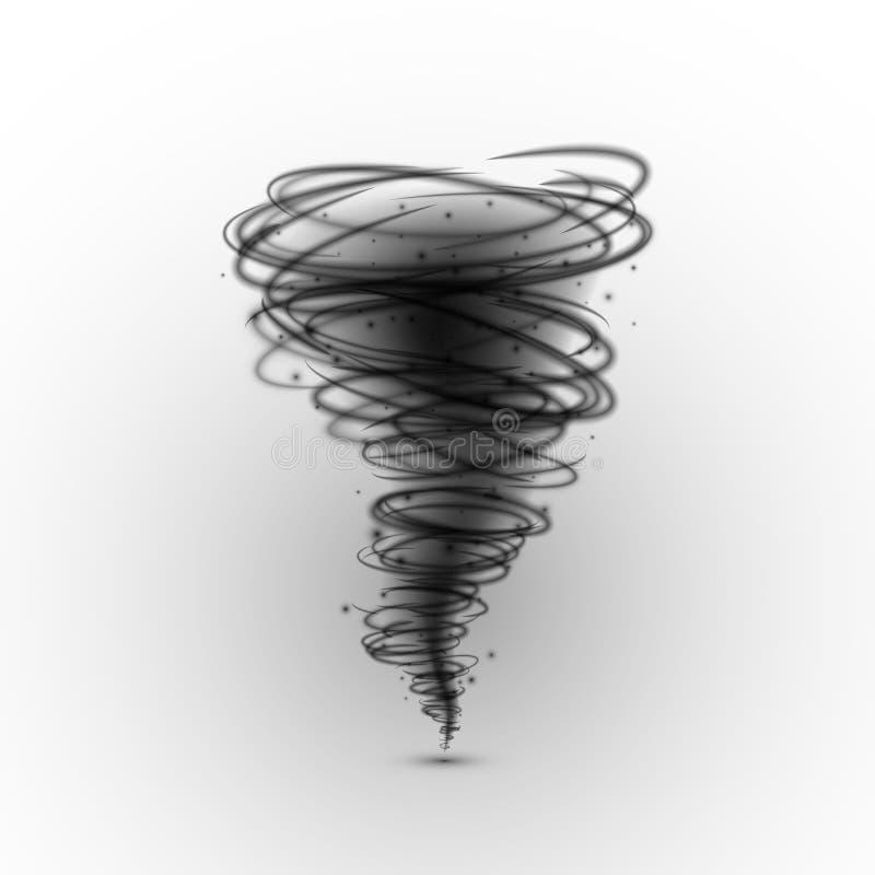 Tornado negro Condición meteorológica extrema del huracán Ejemplo del vector aislado en un blanco stock de ilustración