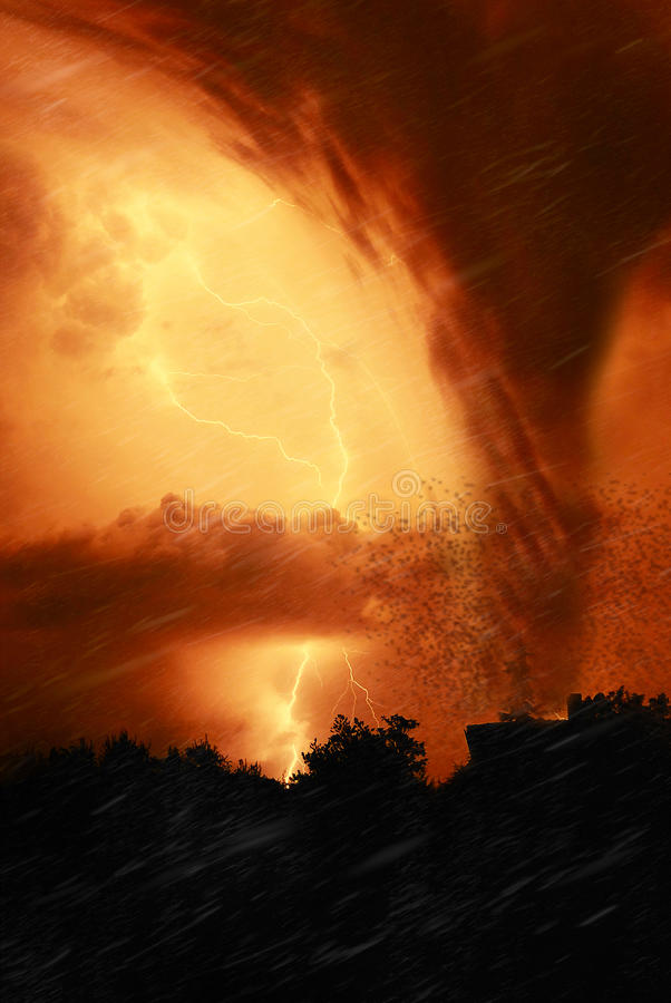 Download Tornado in the night stock image. Image of background - 15170301