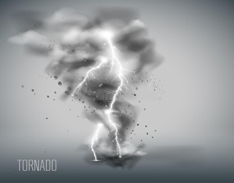 Tornado op een eenvoudige achtergrond Vector illustratie vector illustratie
