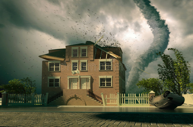 Download Tornado over the house stock illustration. Illustration of fear - 6395714