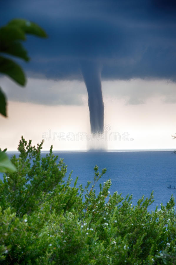 Tornado over the sea royalty free stock photo