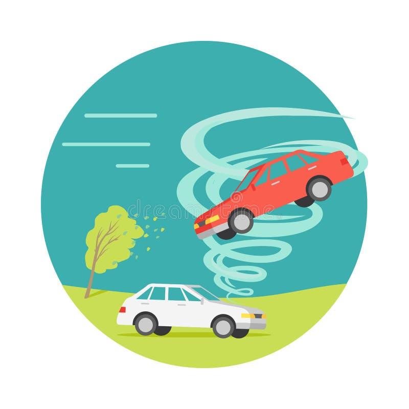 Tornado Przekręcający samochód, Rujnujący Everything wektor royalty ilustracja