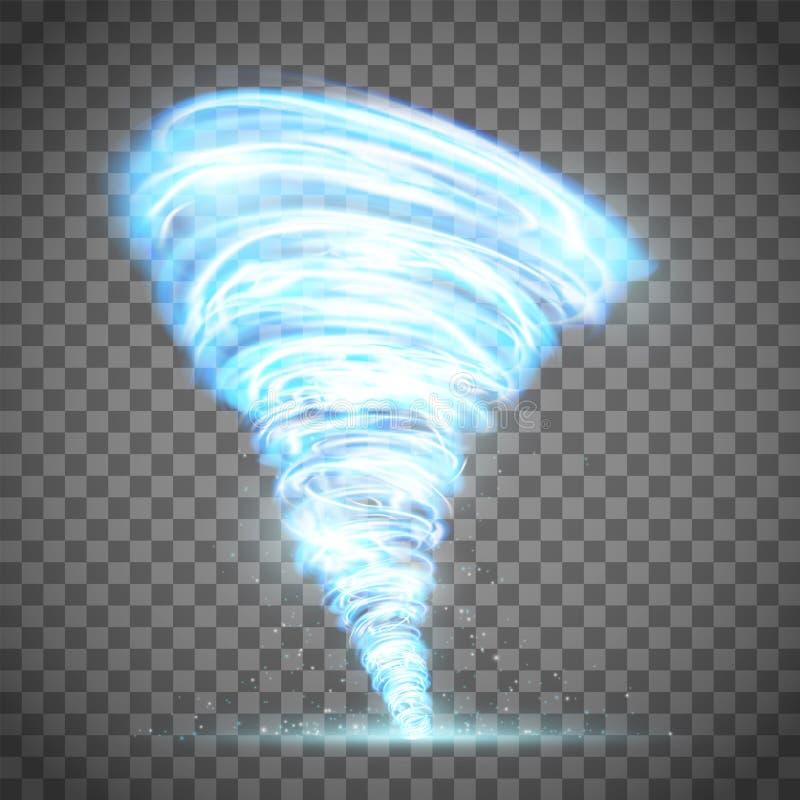 Tornado que brilla intensamente con el relámpago stock de ilustración