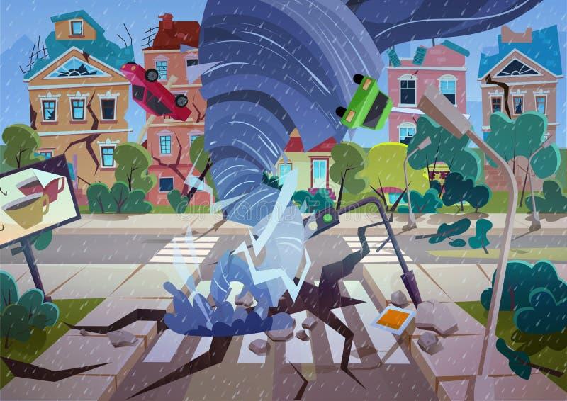 Tornado que remolina en pueblo Casas y calle de destrucción del huracán Vector de la historieta del concepto del desastre natural ilustración del vector