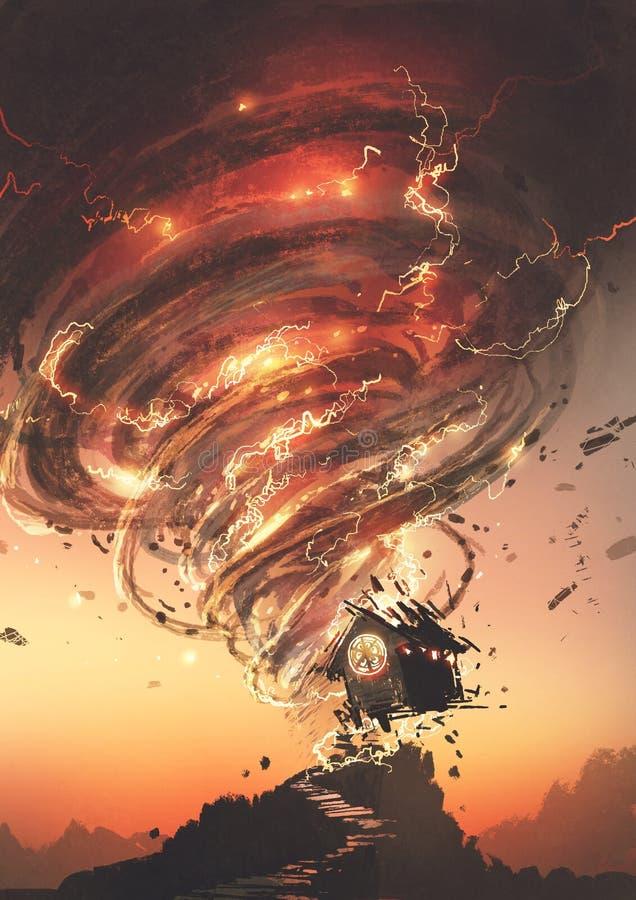 Tornado rosso che distrugge la casa royalty illustrazione gratis