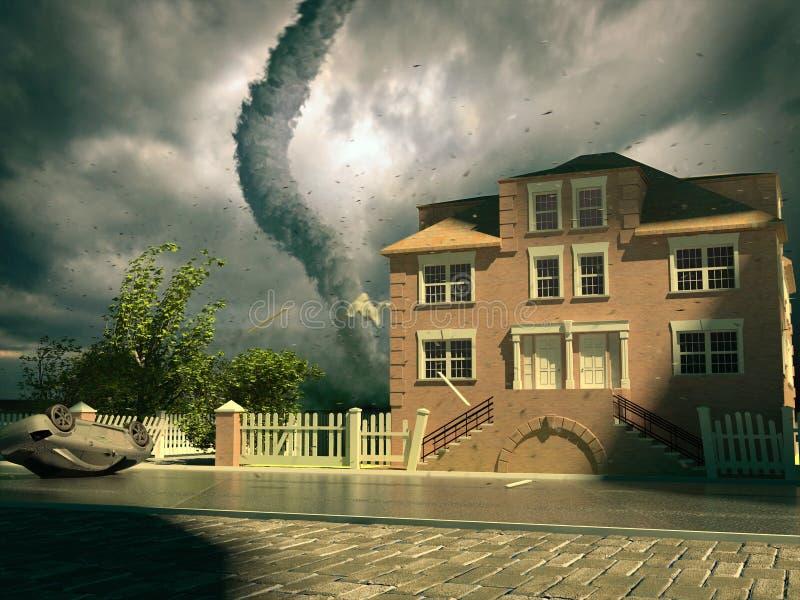 Tornado sobre la casa ilustración del vector