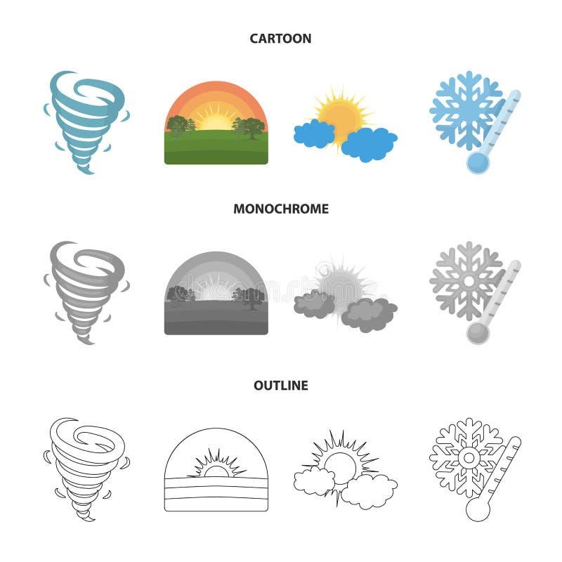 Tornado, Sonnenaufgang, Trübung, Schnee und bereifen die gesetzten Sammlungsikonen des Wetters in der Karikatur, Entwurf, einfarb lizenzfreie abbildung