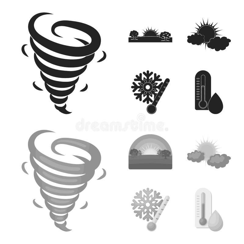 Tornado, Sonnenaufgang, Trübung, Schnee und bereifen die gesetzten Sammlungsikonen des Wetters im Schwarzen, monochrom Art-Vektor vektor abbildung