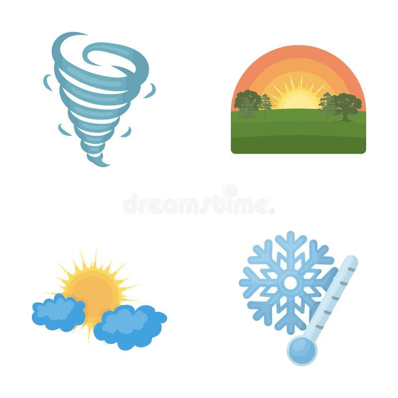 Tornado, Sonnenaufgang, Trübung, Schnee und bereifen die gesetzten Sammlungsikonen des Wetters Karikaturartvektorsymbolauf lager lizenzfreie abbildung