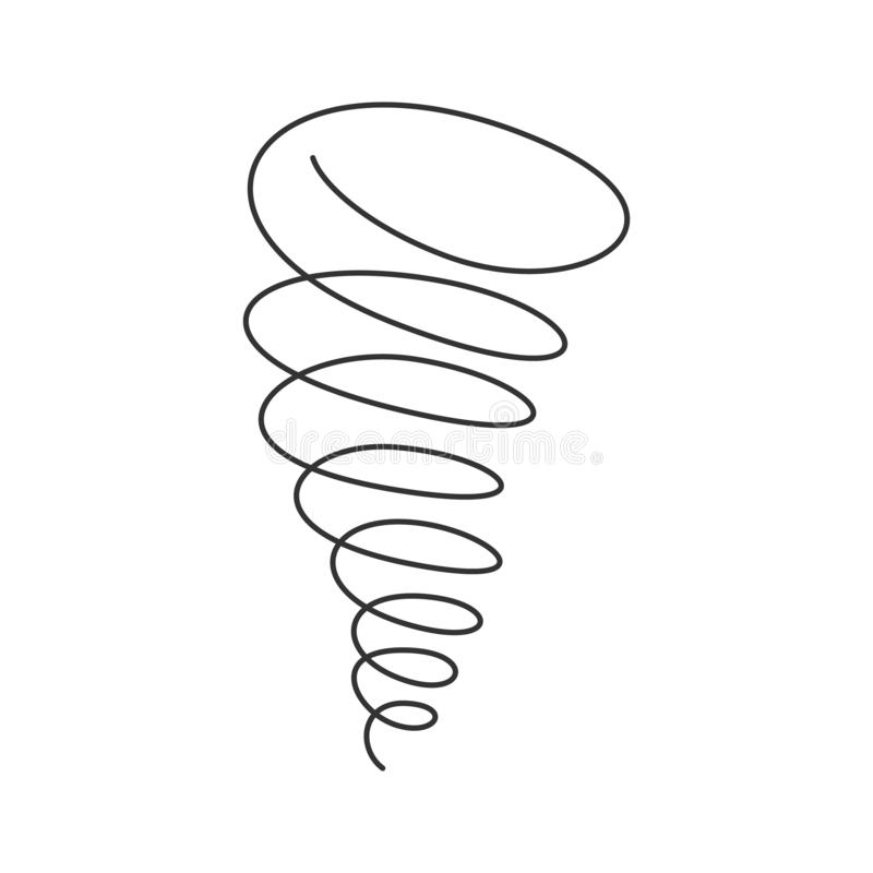 Tornado spiral continuous line with editable stroke isolated on white background. Simple abstract vector illustration of twister - natural phenomenon of royalty free illustration