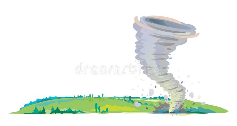 Tornado on the field isolated. Tornado with spiral twists standing on the green field with plants, the power of nature concept illustration royalty free illustration