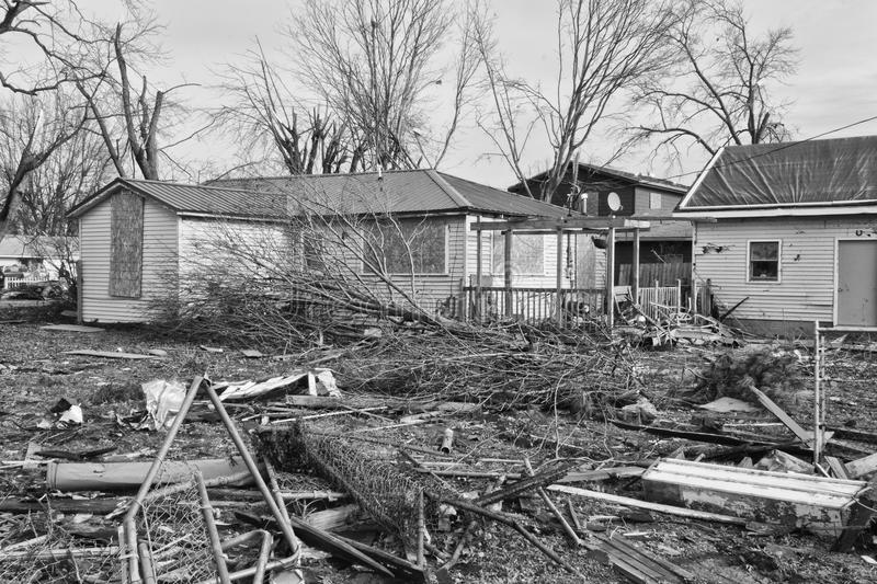 Tornado Storm Damage XIV. Catastrophic Wind Damage from a Midwest Tornado stock images