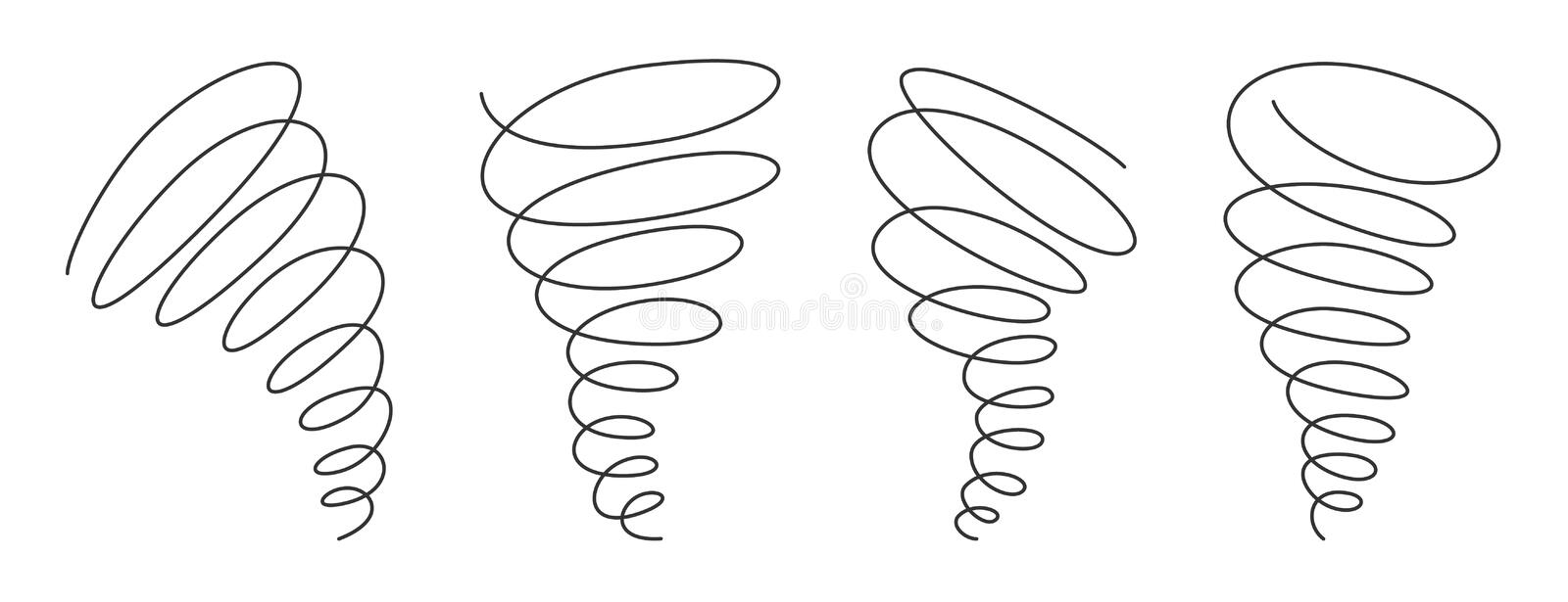 Tornado swirl continuous line with editable stroke isolated on white background - vector illustration set. Tornado swirl continuous line with editable stroke stock illustration